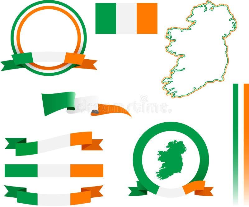 Grupo da bandeira da Irlanda ilustração royalty free