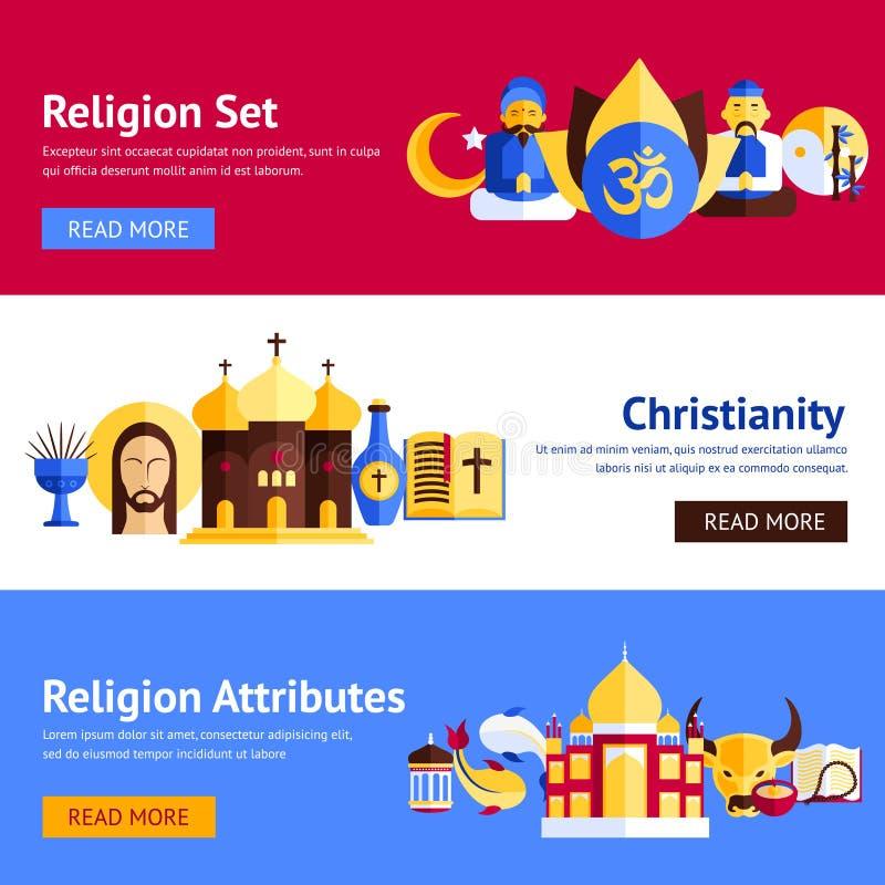 Grupo da bandeira da religião ilustração stock