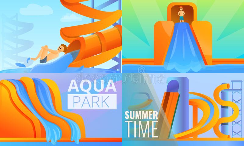Grupo da bandeira de Aquapark, estilo dos desenhos animados ilustração royalty free