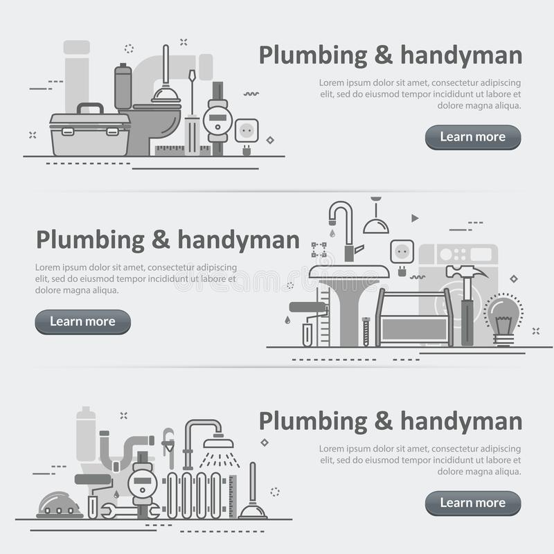 Grupo da bandeira de encabeçamento da Web do serviço do encanamento e do trabalhador manual ilustração stock