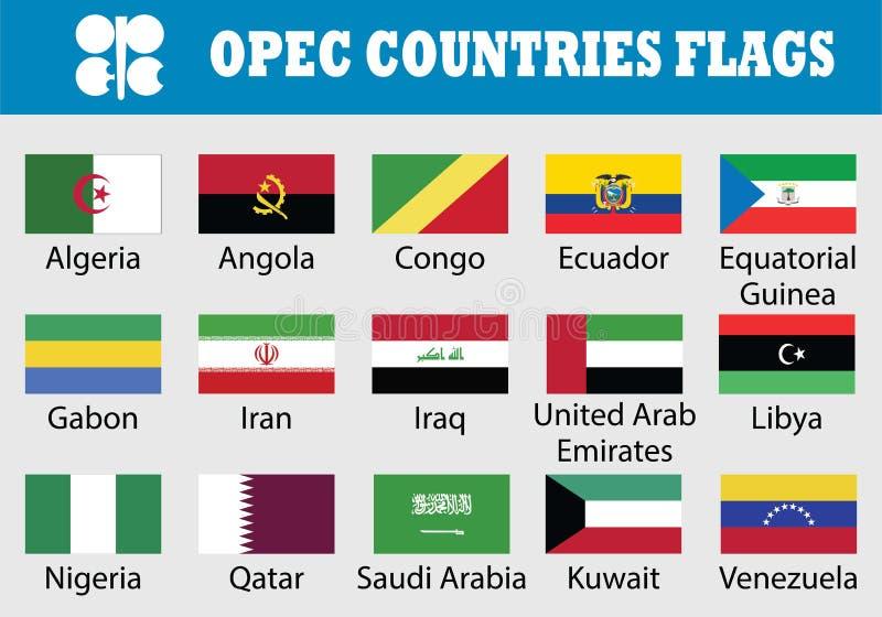 Grupo da bandeira de países do OPEC ilustração stock