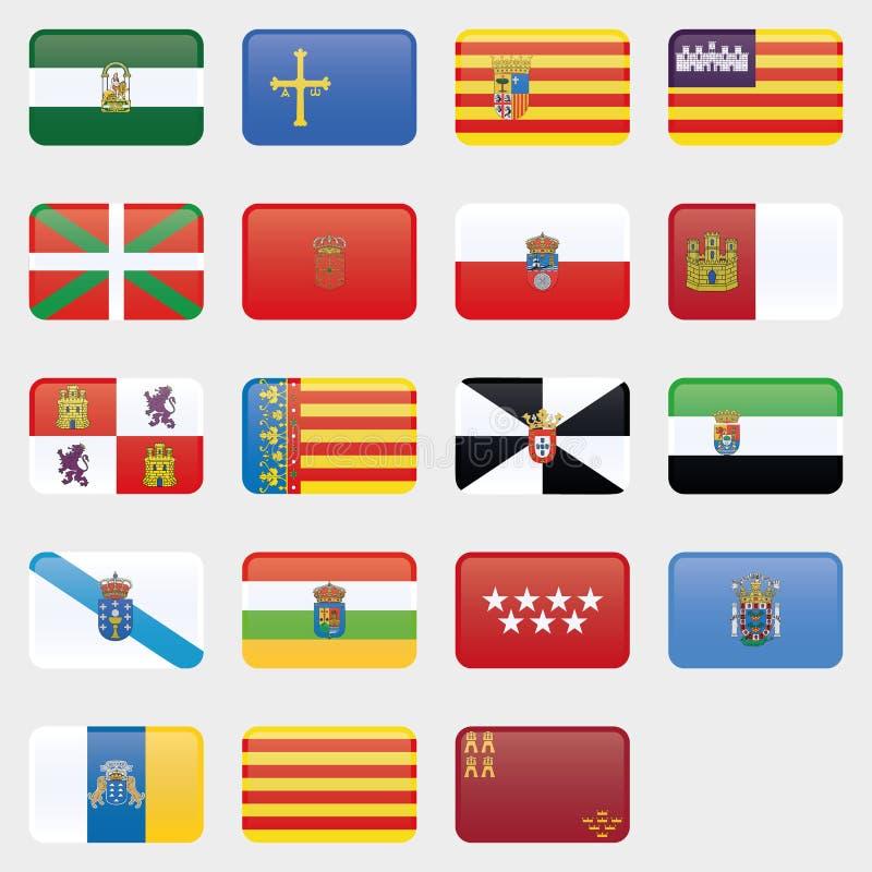 Grupo da bandeira de todos os provices espanh?is Cole??o do vetor ilustração do vetor