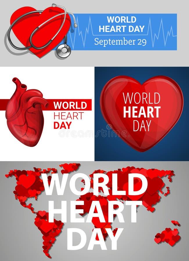 Grupo da bandeira do dia do coração do mundo, estilo dos desenhos animados ilustração royalty free