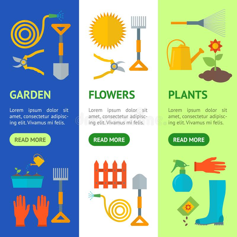 Grupo da bandeira do equipamento de jardinagem dos desenhos animados Vetor ilustração royalty free