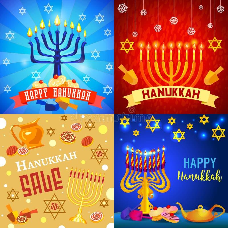 Grupo da bandeira do Hanukkah, estilo dos desenhos animados ilustração do vetor
