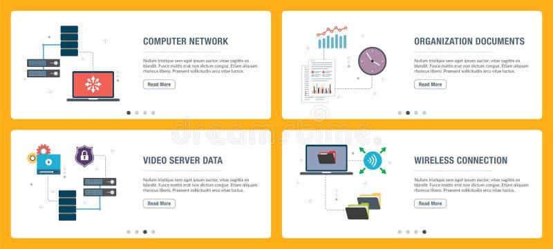 Grupo da bandeira do Internet de ?cones da tecnologia, do Internet e dos computadores ilustração stock