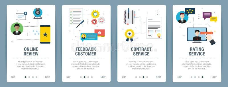 Grupo da bandeira do Internet de feedback, de revisão, de serviço do contrato e de ícones de avaliação ilustração royalty free
