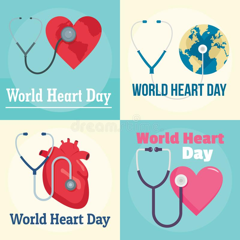Grupo da bandeira do mundo do dia do coração do mundo, estilo liso ilustração stock