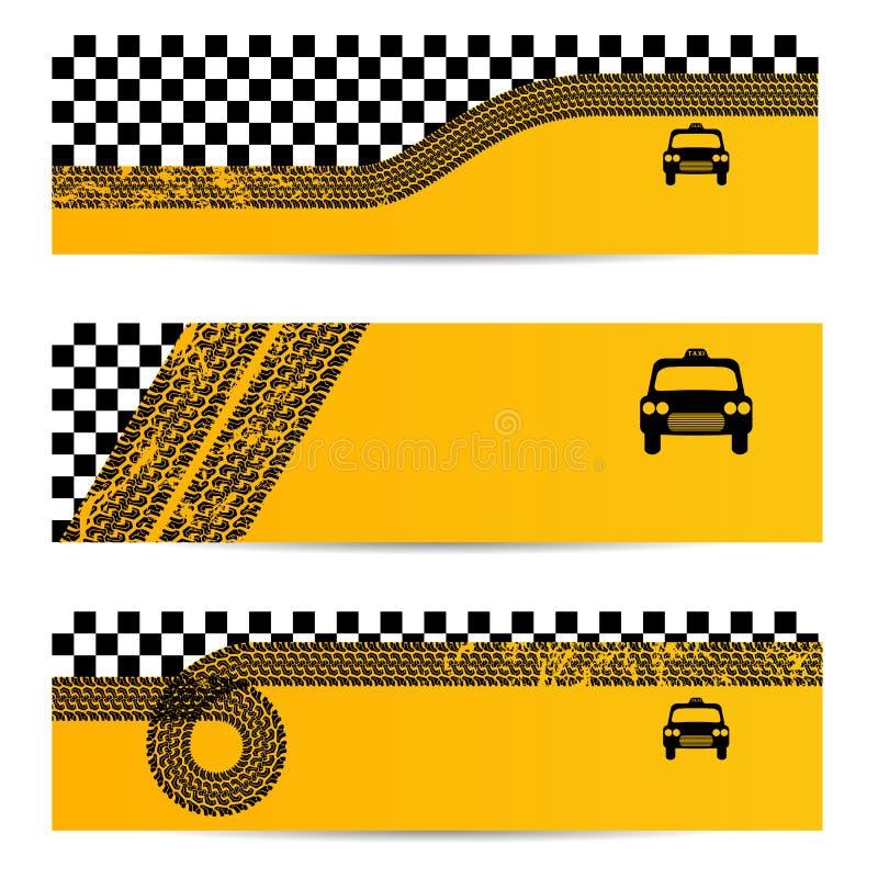 Grupo da bandeira do pneu do táxi de 3 ilustração royalty free