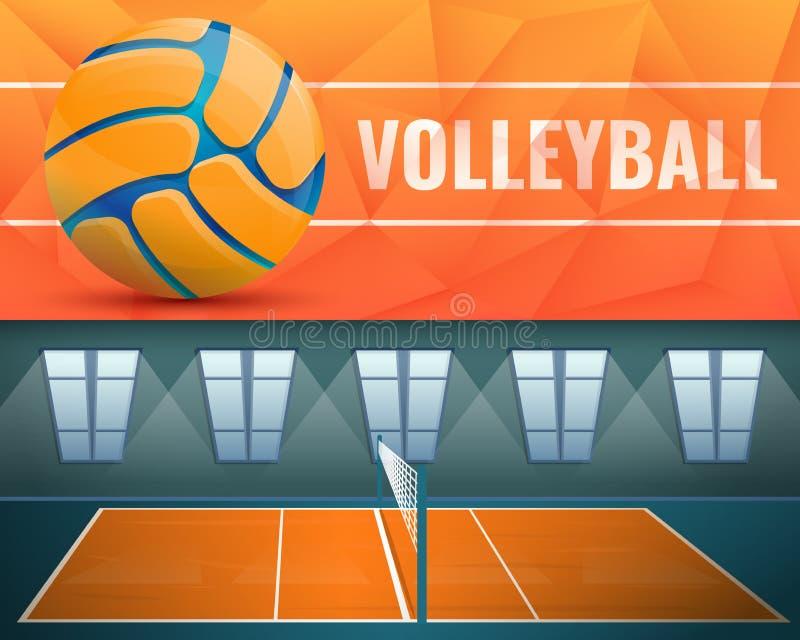 Grupo da bandeira do voleibol, estilo dos desenhos animados ilustração do vetor
