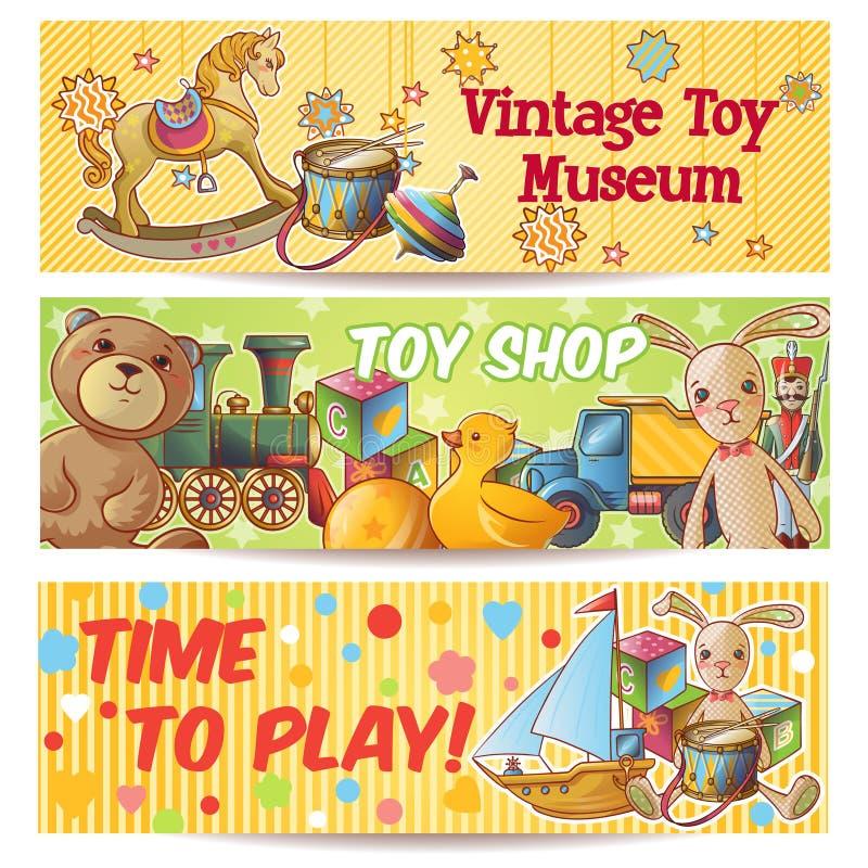 Grupo da bandeira dos brinquedos das crianças ilustração stock