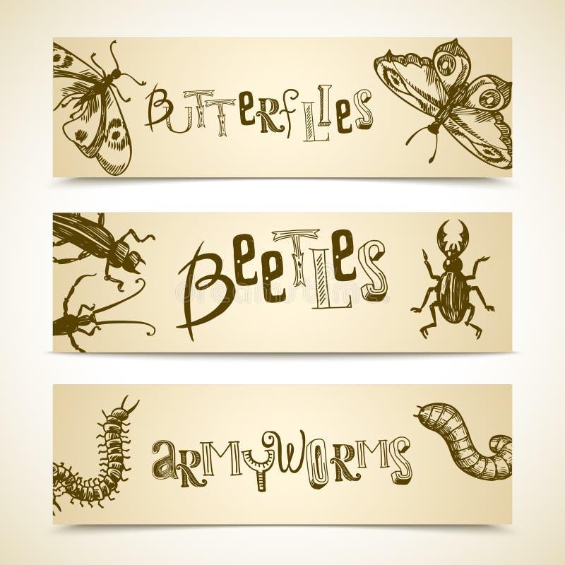 Grupo da bandeira dos insetos ilustração stock