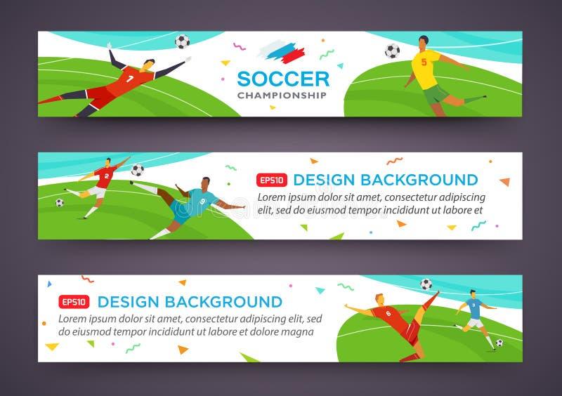 Grupo da bandeira dos jogadores de futebol championship Ilustração do vetor da cor do tolo no estilo liso ilustração stock