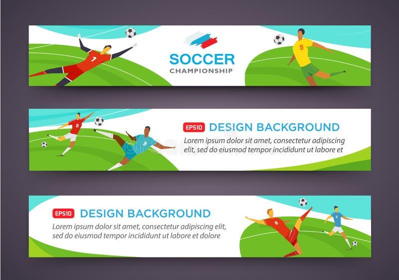 Grupo da bandeira dos jogadores de futebol championship Ilustração do vetor da cor do tolo no estilo liso ilustração royalty free