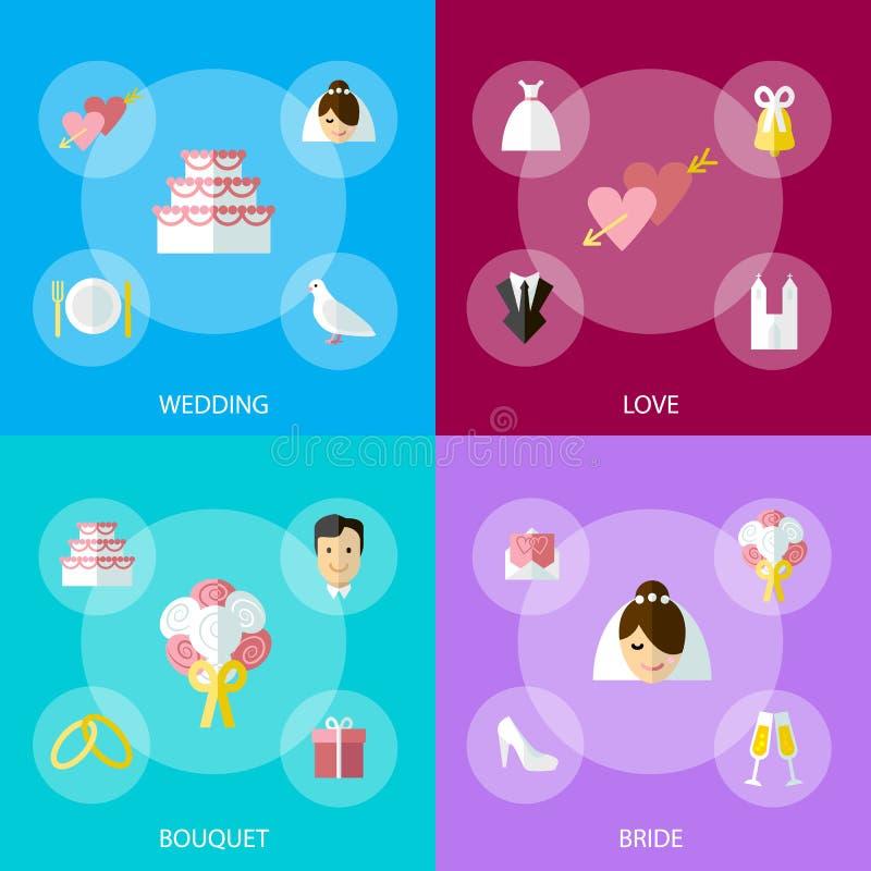 Grupo da bandeira dos símbolos da celebração do casamento dos desenhos animados Vetor ilustração do vetor
