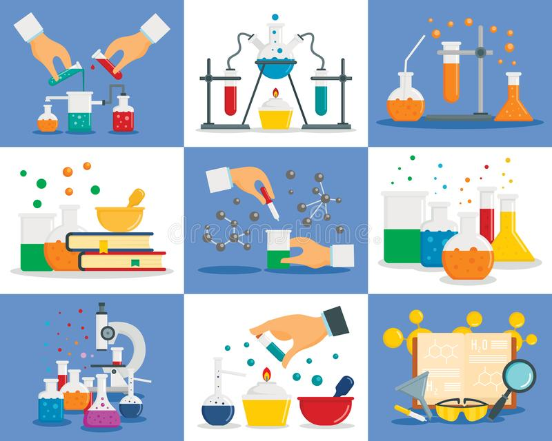 Grupo da bandeira da reação da química, estilo liso ilustração stock