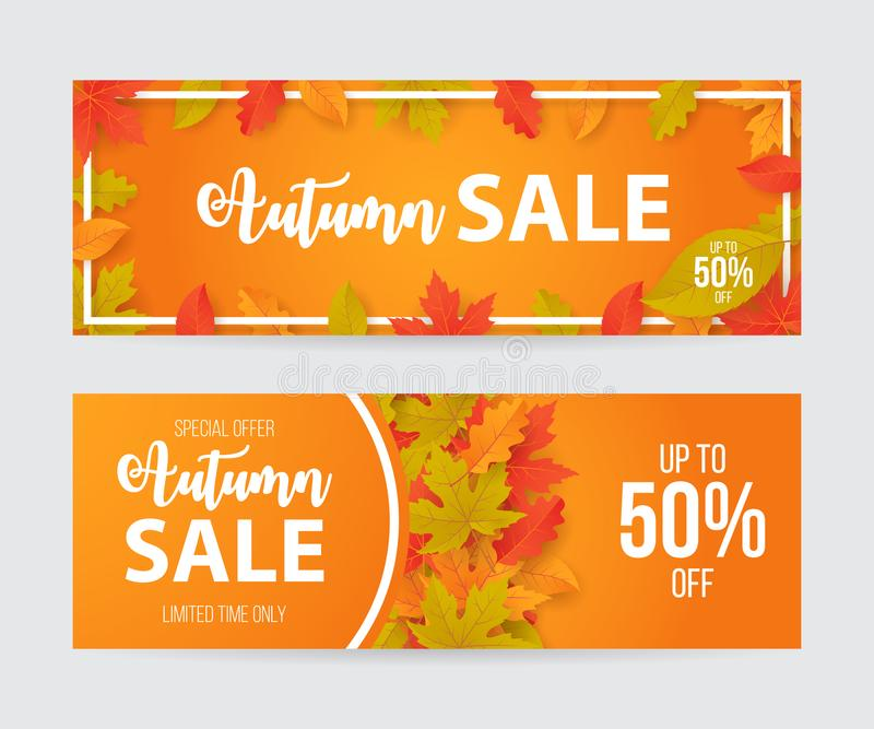 Grupo da bandeira da venda do outono com folhas ilustração royalty free