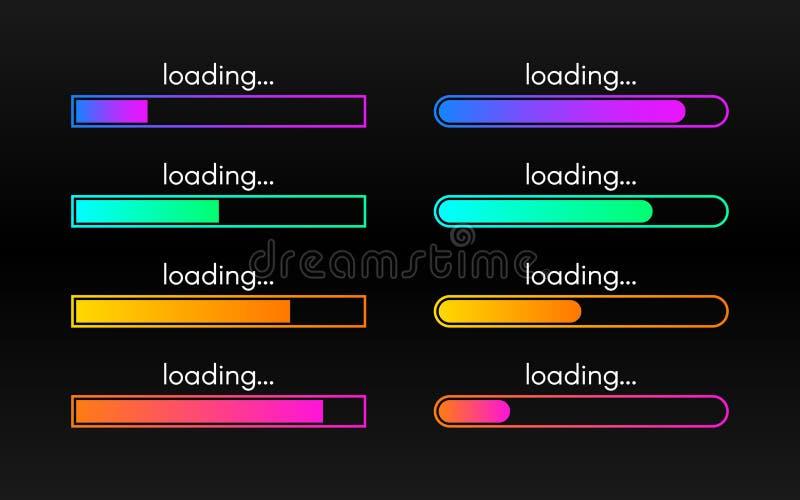 Grupo da barra de carga no contexto escuro Visualização do progresso Linhas do inclina??o da cor Coleção de carregamento do estad ilustração royalty free