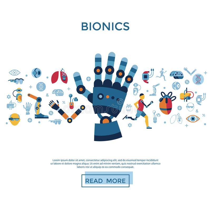 Grupo da biônica e do ícone da inteligência artificial ilustração stock