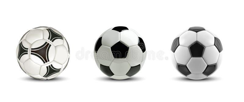 Grupo da bola de futebol do vetor Bolas de futebol realísticas da árvore ou bolas do futebol no fundo branco ilustração do vetor
