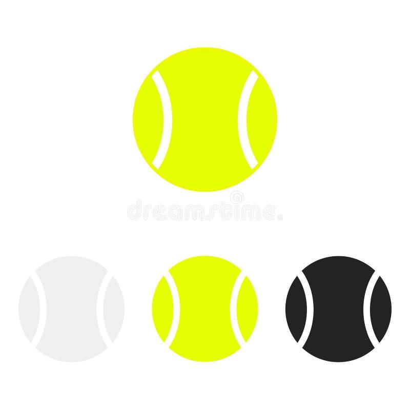 Grupo da bola de tênis Silhuetas do vetor de bolas de tênis Ícones isolados no fundo branco Coleção lisa do vetor ilustração stock