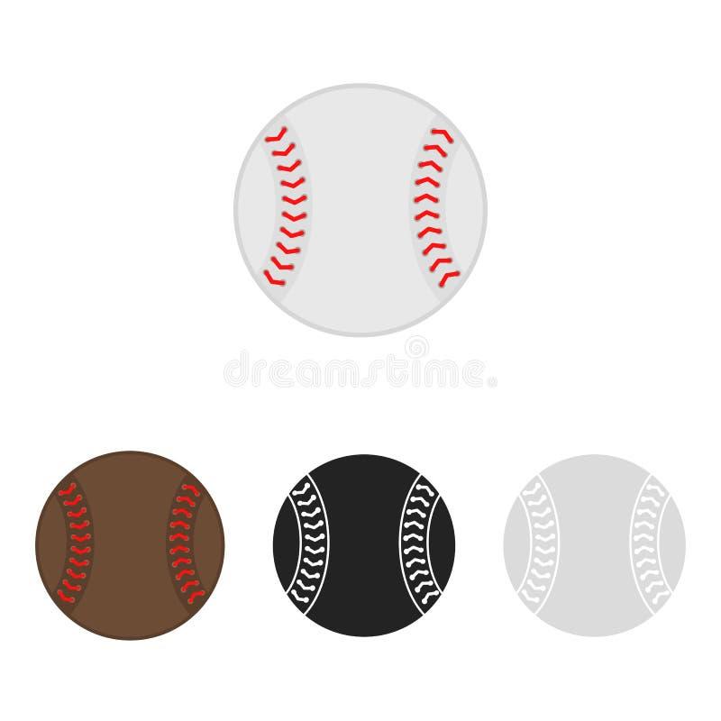 Grupo da bola do basebol softball Silhuetas do vetor de bolas de um basebol Ícones isolados no fundo branco Collec liso do vetor ilustração royalty free