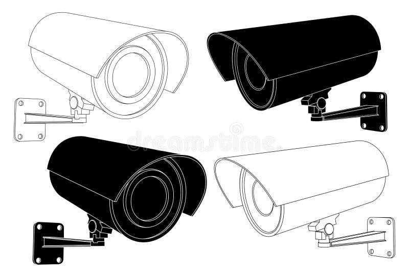 Grupo da câmara de segurança do CCTV Ilustração preto e branco do esboço ilustração royalty free