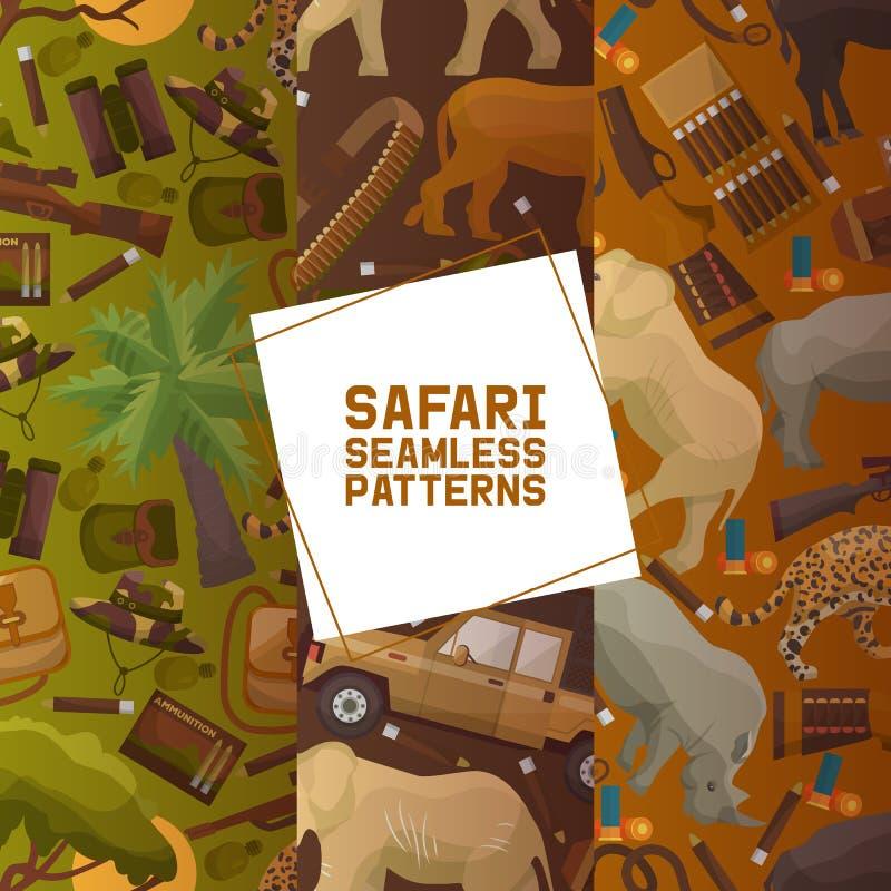 Grupo da caça do safari de ilustração sem emenda do vetor dos testes padrões Camufle o chapéu, arma com escudos, bandolier, faca, ilustração royalty free
