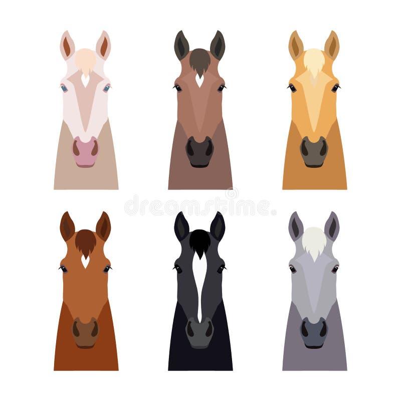 Grupo da cabeça de cavalo do vetor Liso, objeto do estilo dos desenhos animados cores diferentes ilustração do vetor