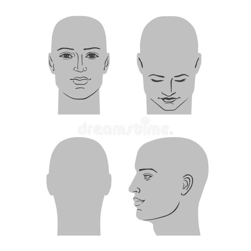 Grupo da cabeça do penteado do homem ilustração do vetor