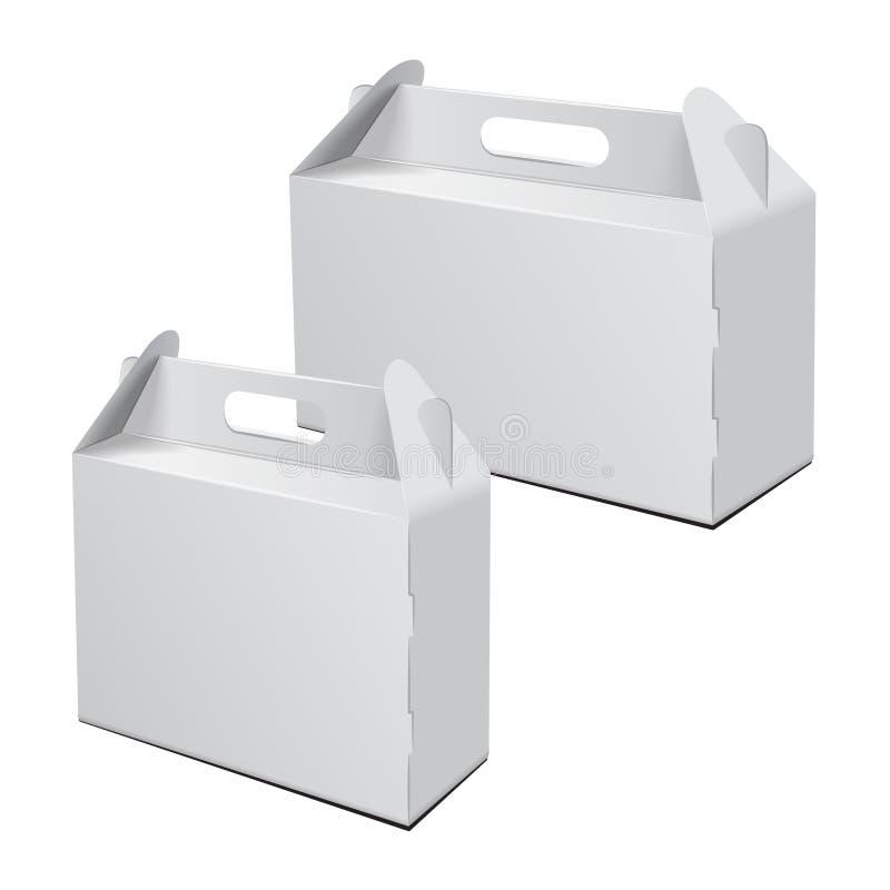 Grupo da caixa de cartão Para o bolo, o fast food, o presente, etc. Carry Packaging Modelo do vetor Molde branco do pacote ilustração royalty free