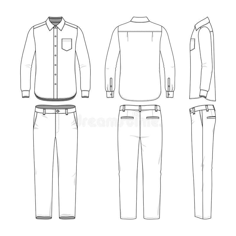 Grupo da camisa e das calças masculinas ilustração stock