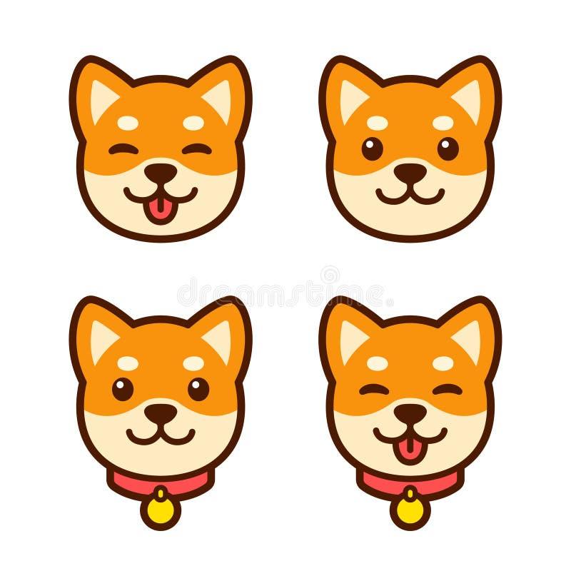 Grupo da cara do cachorrinho de Shiba Inu ilustração royalty free