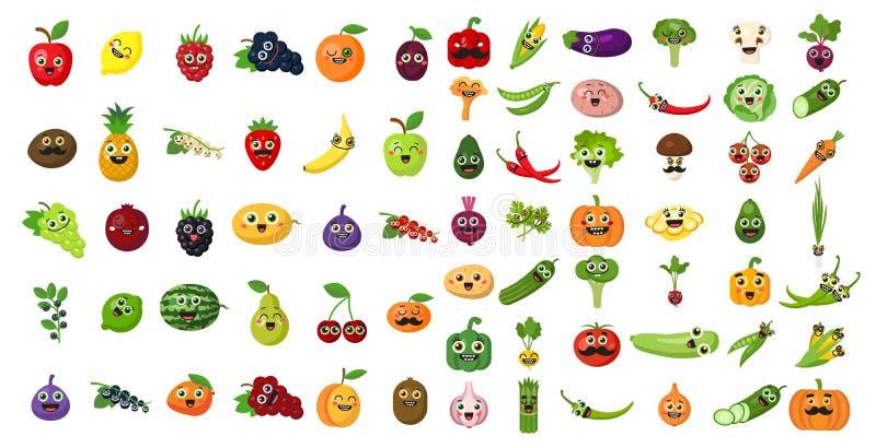 Grupo da cara dos vegetais e dos frutos ilustração royalty free