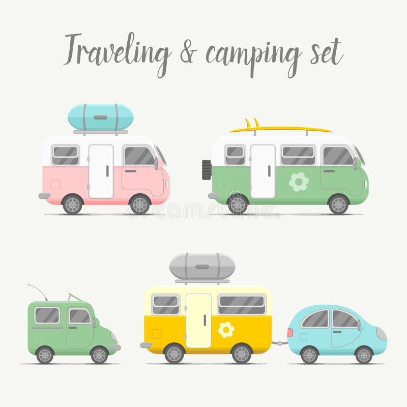 Grupo da caravana do transporte do vetor Tipos de reboques