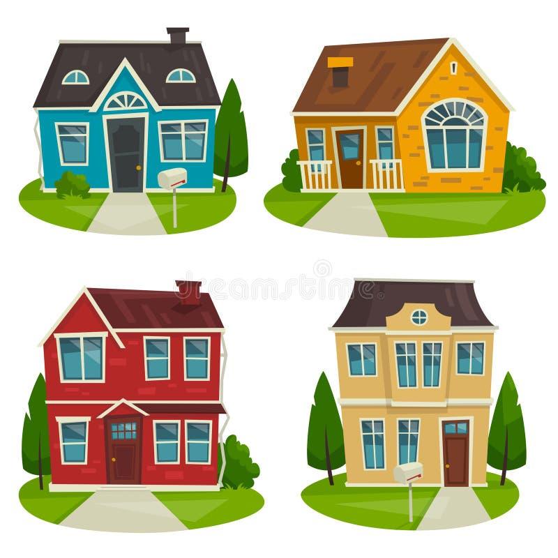 Grupo da casa de campo das casas, ilustração dos desenhos animados do vetor, projeto exterior fotos de stock