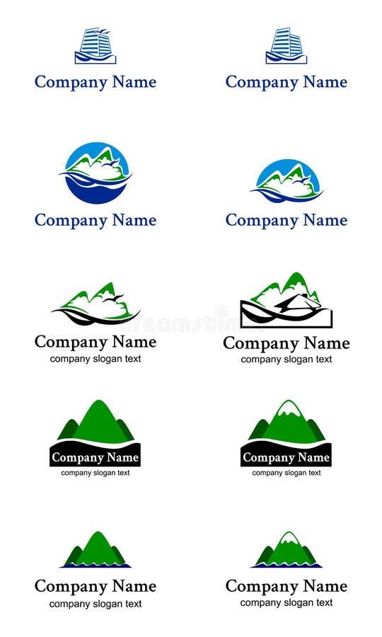 Grupo da casa de campo das férias do oceano das montanhas do logotipo ilustração stock