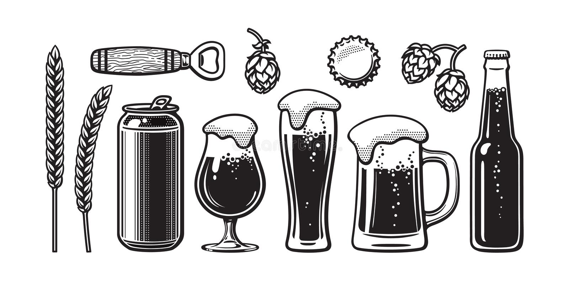 Grupo da cerveja do vintage A cevada, trigo, pode, vidro, caneca, garrafa, abridor, lúpulo, tampão de garrafa Ilustração do vetor ilustração stock