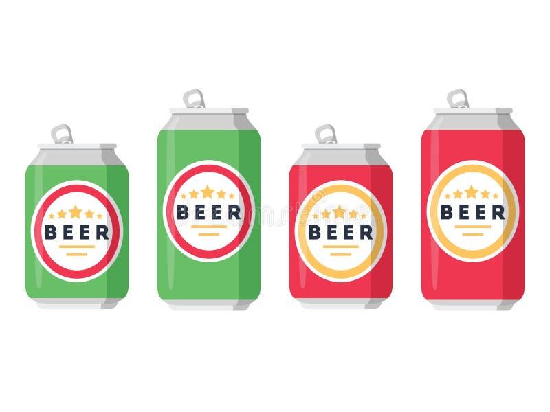 Grupo da cerveja Uma coleção de latas de cerveja em cores diferentes em um fundo branco Isolado em um estilo liso na moda ilustração stock
