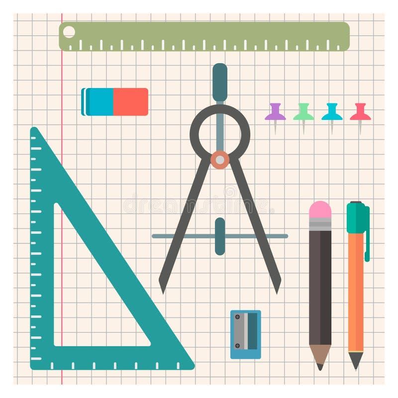 Grupo da chancelaria de objetos em um estilo liso ilustração do vetor