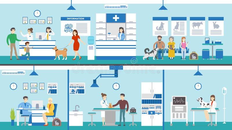 Grupo da clínica do veterinário ilustração stock