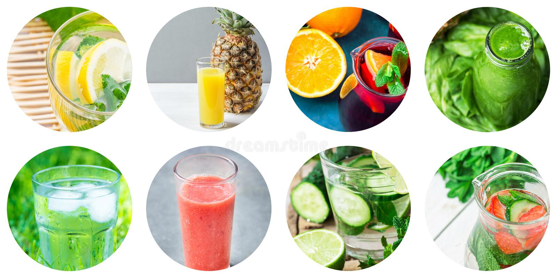Grupo da colagem de ícones redondos do círculo de bebidas saudáveis e das bebidas da desintoxicação isoladas no fundo branco Frut fotografia de stock