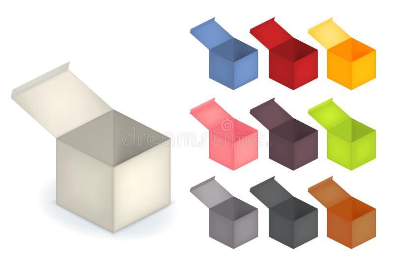 Grupo da coleção da caixa 3d aberta realística na cor da variedade ilustração royalty free