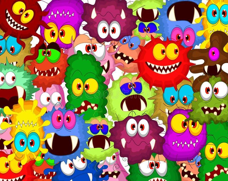 Grupo da coleção das bactérias dos desenhos animados para você projeto ilustração stock