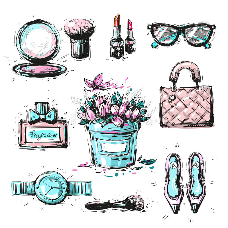 Grupo da coleção de acessórios à moda dos elementos da forma esboçado ilustração royalty free