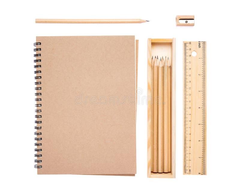 Grupo da coleção de artigos de papelaria foto de stock