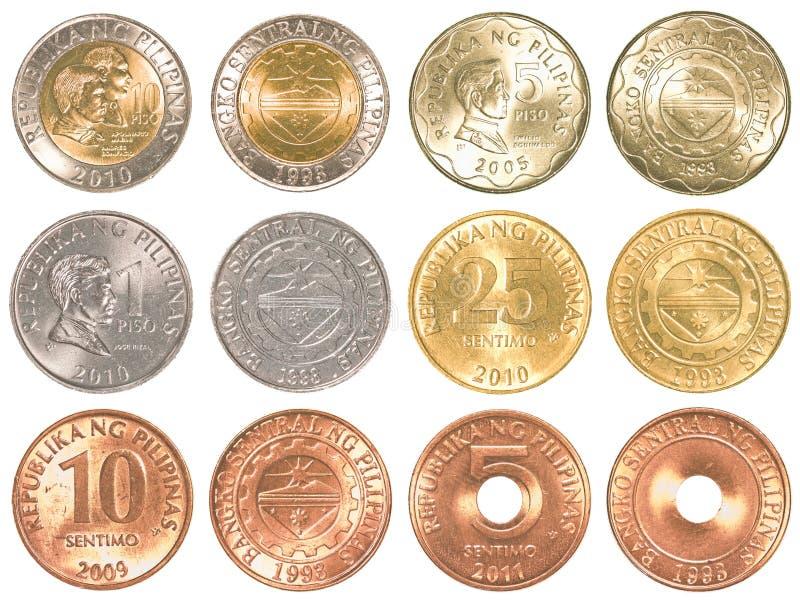 Grupo da coleção de moedas do peso de Filipinas imagens de stock