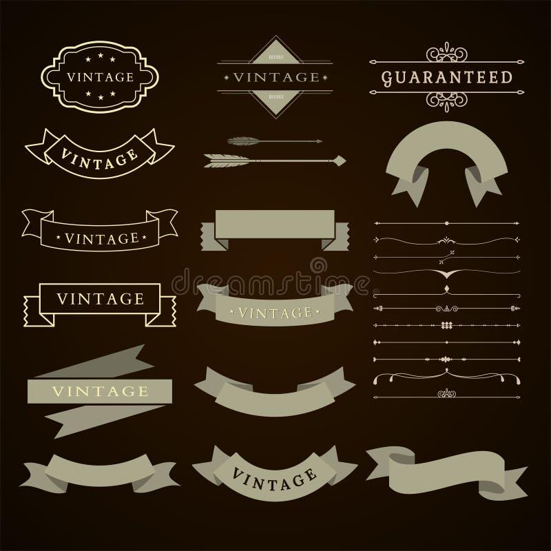 Grupo da coleção de vintage decorativo gráfico das fitas da Web ilustração do vetor