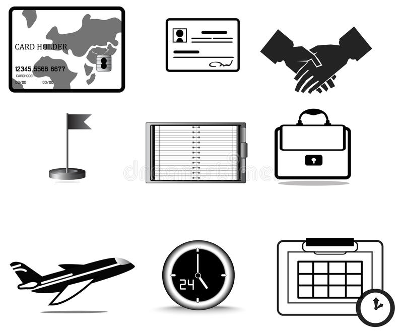Grupo da coleção do ícone da viagem de negócios da silhueta ilustração royalty free