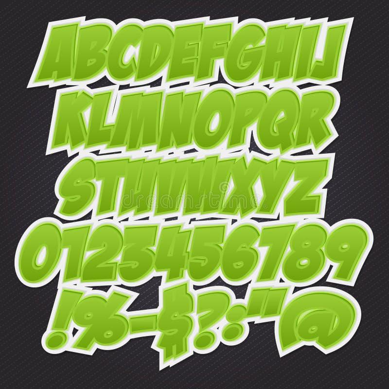 grupo da coleção do alfabeto do estilo do efeito do texto 3D ilustração stock